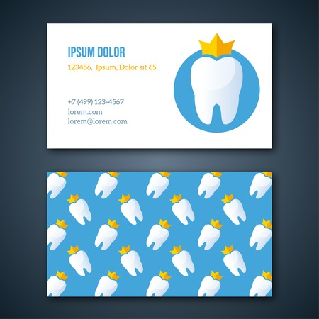 pediatric: Dental Clinic Corporate Identity Template. Dentist Business Cards set. Vector illustration. Tooth with crown logotype design. Typographic template for you text.