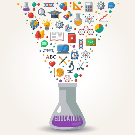 Knowledge Icons fly out from Tube. Concept of Learning. Vector illustration. Education Concept Art. Back to School Background. Learning process.