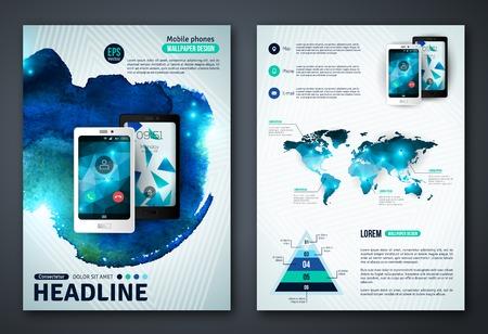 ビジネス文書、チラシやプラカードの抽象的な背景。モバイル技術、アプリケーション、オンライン サービスのインフォ グラフィックの概念。  イラスト・ベクター素材