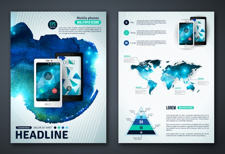 template: Abstract Background for Business Documents, Flyers and Placards. Mobile Technologies, Applications and Online Services Infographic Concept. Illustration