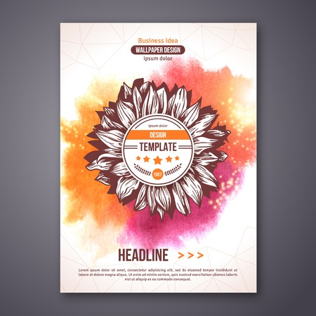 sunflower: Poster or Flyer Template with watercolor paint abstract background. Vector illustration. Sunflower hand drawn circle frame. Typographic template for your text. Illustration
