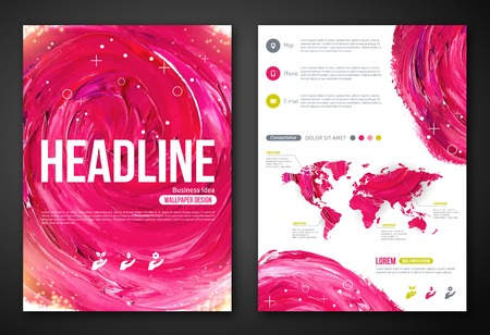 corporate world: Business Poster or Flyer Template with paint abstract pink background. Vector illustration. Typographic template for your text. Woman beauty, health, spa, fashion theme.
