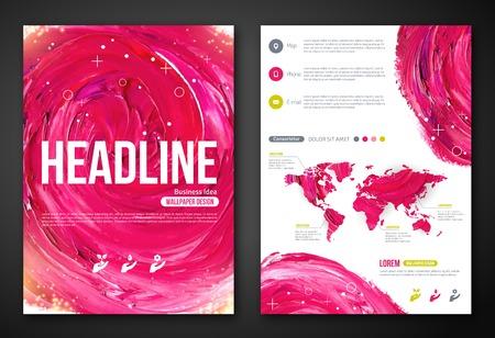 corporativo: Cartel de negocios o Plantilla del aviador con la pintura abstracta fondo de color rosa. Ilustración del vector. Plantilla tipográfico para el texto. Belleza de la mujer, la salud, spa, tema de moda.