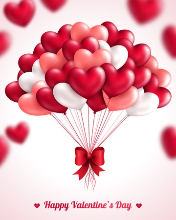 Valentines day background with heart balloons. Vector illustration. Bunch of pink and red balloons. Festive background for Mothers day or Womans Day.