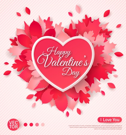 로맨스: 마음과 잎 아름 다운 인사말 카드. 행복한 발렌타인 데이. 벡터 일러스트 레이 션. 텍스트 표기 템플릿입니다. 종이 그림자 잎 마음을 잘라.