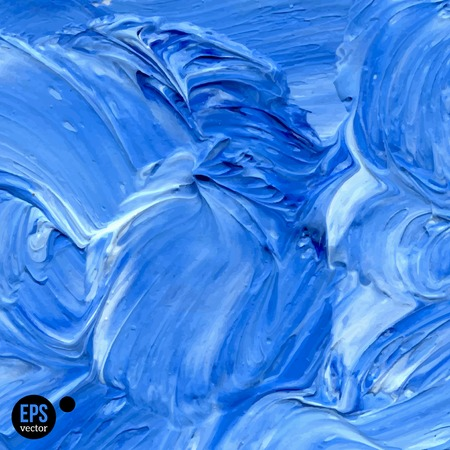 paint strokes: Oil painted background. Vector illustration. Abstract backdrop with blue paint strokes. Abstract hand drawn waves. Illustration