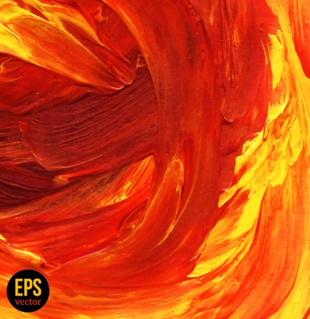 Oil painted background. Vector illustration. Abstract backdrop. Hot red, yellow and orange strokes.
