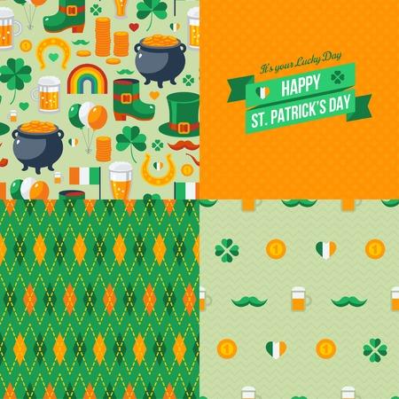 leprechaun background: Patricks Day seamless patterns set with traditional symbols. Vector illustration. Green clover, leprechaun hat, pot with coins, Irish beer. Green ribbon label.