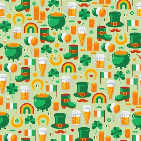 leprechaun background: Patricks Day seamless pattern with traditional symbols. Vector illustration. Green clover, leprechaun hat, pot with coins, Irish beer. Illustration