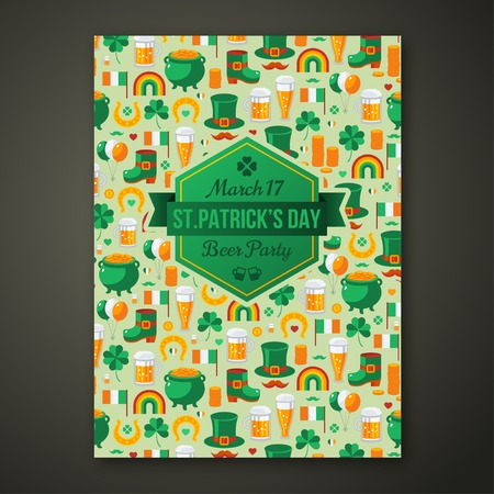 alehouse: Saint Patricks Day Party Poster. Vector illustration. Irish beer party flyer. Typographic template for your text. Illustration