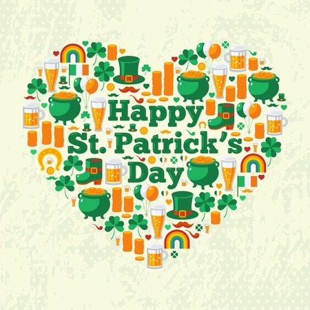 leprechaun hat: Happy Patricks Day Text Concept with Flat Lovely Icons Arranged in Form of Heart.  Vector illustration. Patrick Day Frame. Green clover, leprechaun hat, pot with coins, Irish beer. Illustration