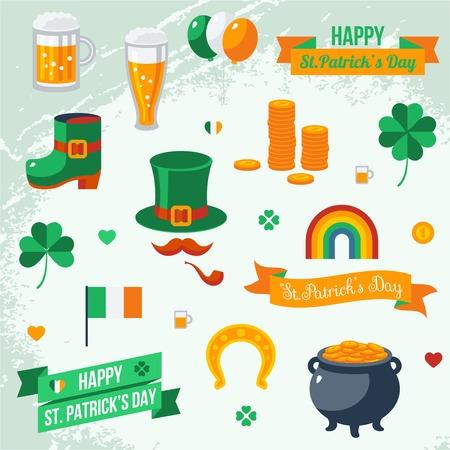 Set of St. Patricks Day symbols. Vector illustration. Vector
