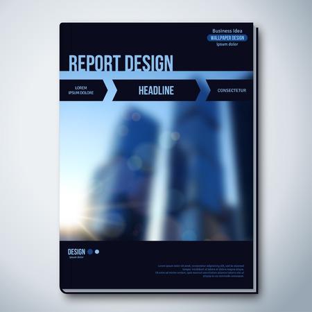 profil: Nowoczesne Wektor abstrakcyjna broszura, ulotka Raport lub Szablon. Ilustracji wektorowych. Technologia tła z Niewyraźne Tło z teksturą miejskie. Ilustracja
