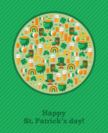 four leafed: Saint Patricks Day Ornamental Background.  Vector illustration. Patricks day greeting card design template. Irish symbols and objects.
