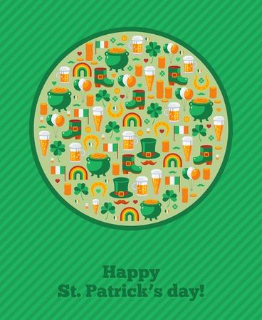 Saint Patricks Day Ornamental Background.  Vector illustration. Patricks day greeting card design template. Irish symbols and objects.