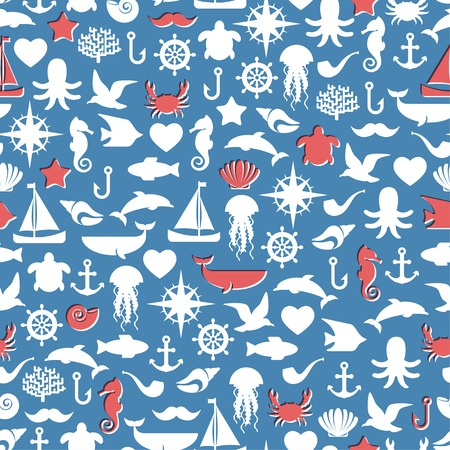 Seamless patterns of marine symbols. Vector illustration. Use to create quilting patches or seamless backgrounds for various craft projects. Imitation of Inexact printing, inaccurate overprint. Vector