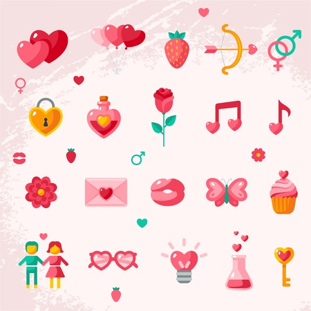 Valentines day icons elements collection. Vector illustration. Love concept symbols. Cupid bow, gender sign, couple, sweet cupcake, love letter, love poison. Vector