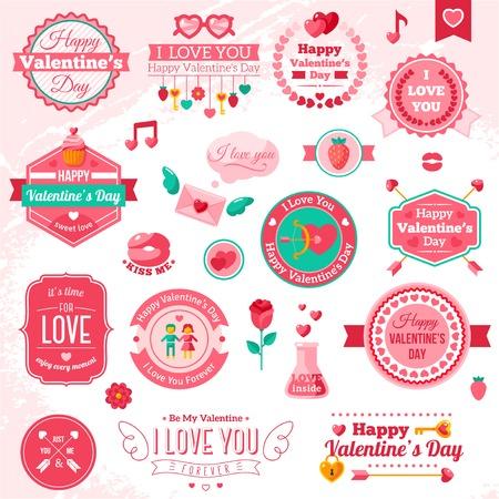 carta de amor: Conjunto de insignias y etiquetas del d�a de San Valent�n feliz del vintage.