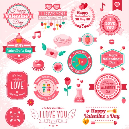 symbol decorative: Set Of Vintage Happy Valentines Day badges and labels.