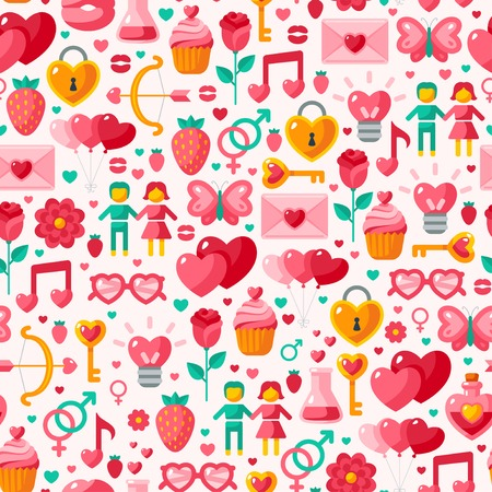poison sign: Cute Valentine seamless pattern. Vector illustration for romantic nostalgia design. Happy Valentines day design with cupid bow, gender sign, couple, sweet cupcake, love letter, love poison.