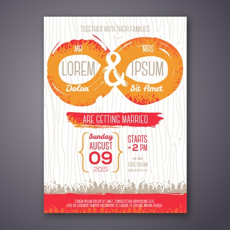 unusual valentine: Wedding invitation card with grunge endless symbol. Vector illustration. Endless love. Painted design elements.