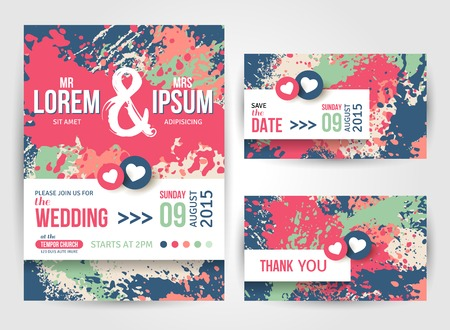 date: Save The Date and Wedding Invitation Cards With Paint Splashes. Vector illustration. Typographic template for your text.