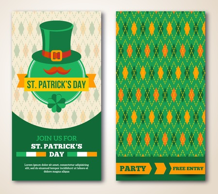 leprechaun background: Set Of Happy St. Patrick\s Day Greeting Card or Flyer.