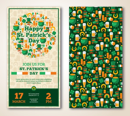 Set Of Vintage Happy St. Patrick\s Day Greeting Card or Flyer.