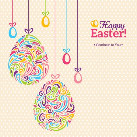easter flowers: Easter eggs in doodle minimalism style with place for your text. Easter template design, greeting card. Abstract retro shape.
