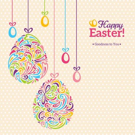 huevo caricatura: Huevos de Pascua en estilo minimalista del doodle con el lugar para su texto. Diseño del modelo de Pascua, tarjeta de felicitación. Forma retro abstracto.