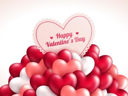 Valentine  's Day achtergrond met glanzende harten.