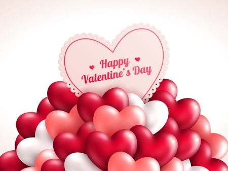 Valentine\s day background with shining hearts.  Ilustração