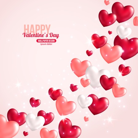 glitter hearts: Valentines Day Card Design with Hearts for Holiday Design.