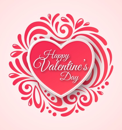 valentine heart: Pink Paper Heart. Valentines Day Greeting Card on Ornate Background.