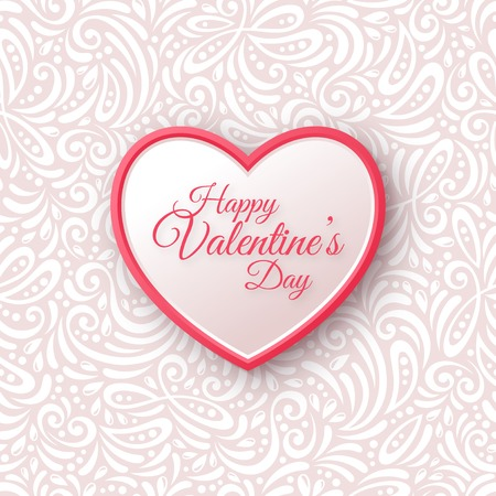 Pink and White Paper Heart.  Valentines Day Greeting Card on Seamless Ornate Background.
