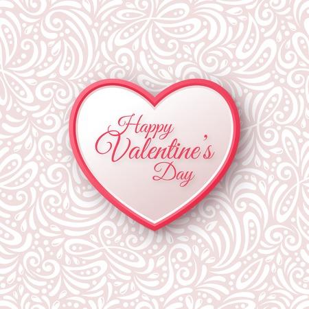 Roze en White Paper Heart. Valentijnskaarten Dag van op Naadloze Sierlijke Achtergrond. Stock Illustratie