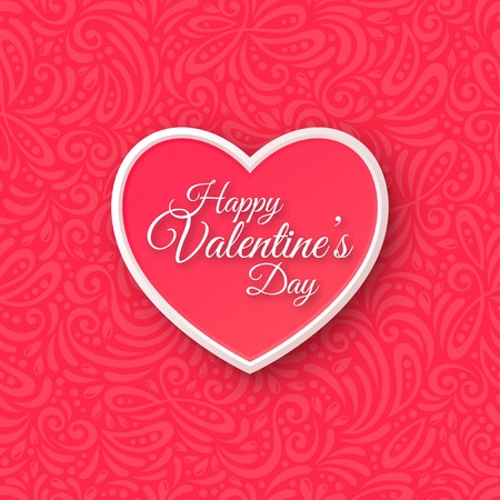valentine day love beautiful: Pink Paper Heart. Valentines Day Greeting Card on Seamless Ornate Background.  Illustration