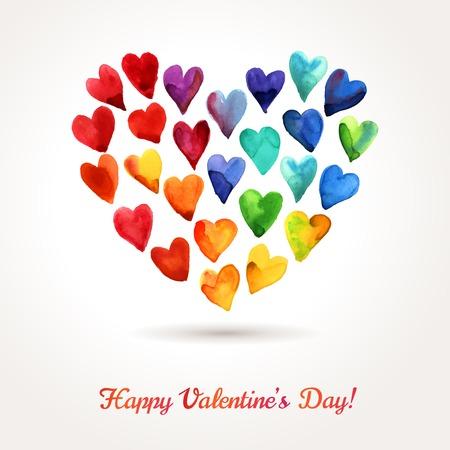 수채화 해피 발렌타인 데이 하트 구름. 어머니의 날을위한 로맨틱 한 밝은 사랑스러운 디자인. 일러스트
