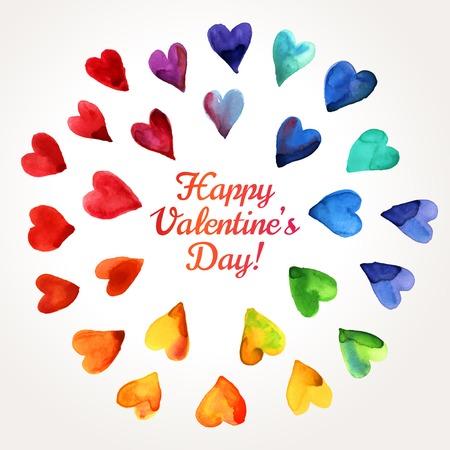 Watercolor Happy Valentines Day Hearts Cloud.