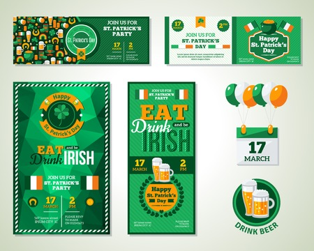 irish beer label: Set Of Happy St. Patrick\s Day Greeting Card or Flyer. Patrick Day Menu Cover Design. Eat, Drink and be Irish.