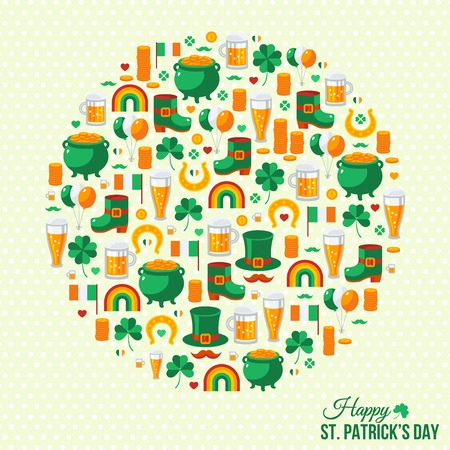Happy Patrick\s Day Concept with Flat Lovely Icons Arranged in Form of Circle.  Vector
