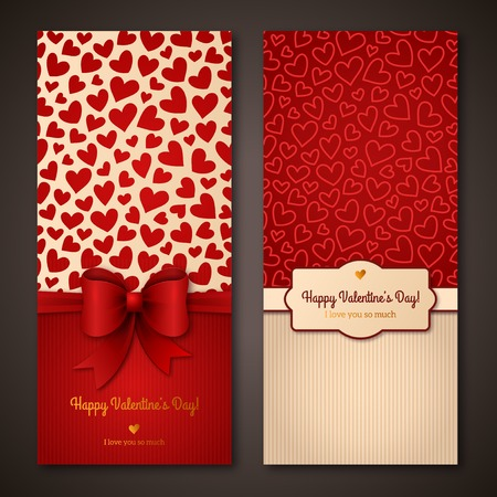 valentines: Happy Valentine\s Day greeting cards. Illustration