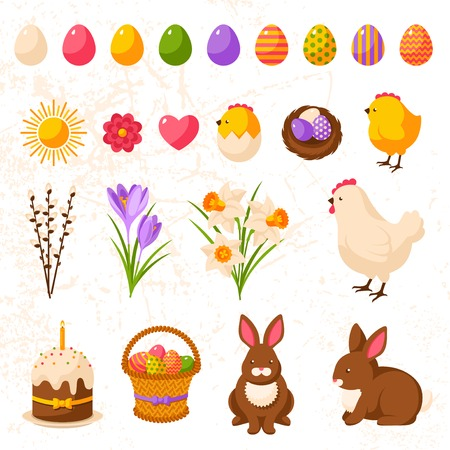 Set of Cute Happy Easter Icons. Vector Illustration. Colorful Eggs Collection, Yellow Chick and Hen, Bouquet of Daffodils and Crocuses, Sweet Cake, Chocolate Rabbit, Nest with Eggs. Easter Egg Hunt.