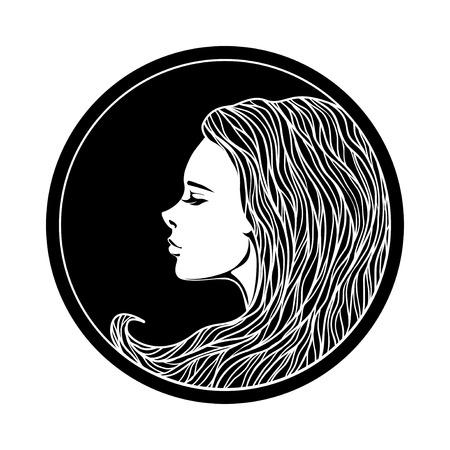 원 프레임 빈티지 소녀의 초상화. 벡터 일러스트 레이 션. 아르누보 스타일. 손 헤어 스타일을 그린. 아름 다운 여자의 얼굴입니다.