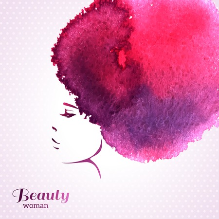 Fashion Woman Portrait with Watercolor Stain like Hair. Vector Illustration. Stylish Design for Beauty Salon Flyer or Banner. Girl Silhouette. Cosmetics. Beauty. Health and spa. Fashion themes. Çizim