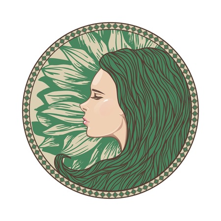 Vintage Girl Portrait in Ornate Circle Frame. Vector Illustration. Art Nouveau Style. Hand Drawn Hairstyle. Beautiful Mermaid Face. Illustration