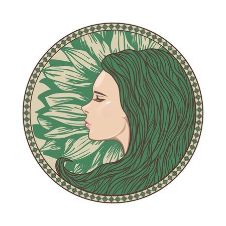 cola mujer: Vintage Girl Retrato en marco del círculo adornado. Ilustración del vector. Estilo del art nouveau. Hand Drawn Peinado. Cara hermosa sirena. Vectores
