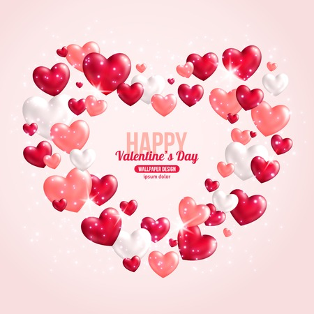 glitter hearts: Valentines Day Card Design with Hearts for Holiday Design. Vector Illustration. Flying Shining Hearts. Lights and Sparkles. Romantic Lovely Frame Design for Mothers Day.