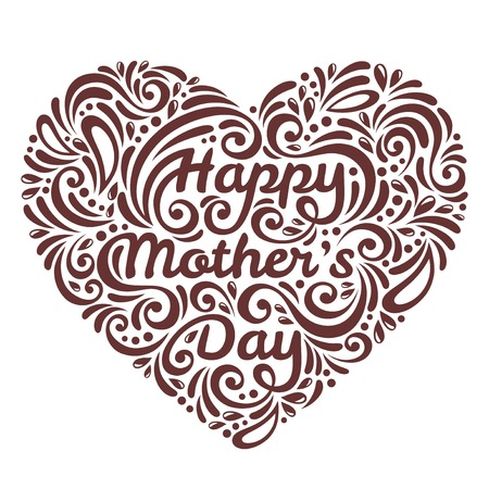 mother love: Mothers Day background with Happy Mothers day lettering with pattern. Doodles.
