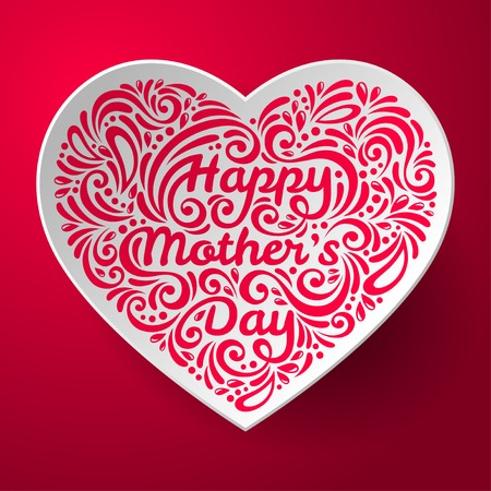 womens day: Mothers Day background with three dimensional heart shape. Happy Mothers day lettering with pattern. Doodles. White heart on pink background. Light and shadow.